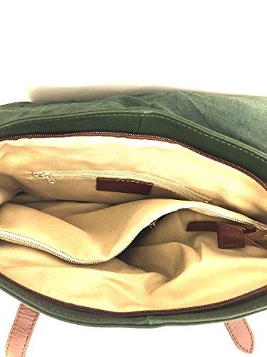 Borsa a tracolla uomo donna in vera pelle made in italy bags MainApps Verde