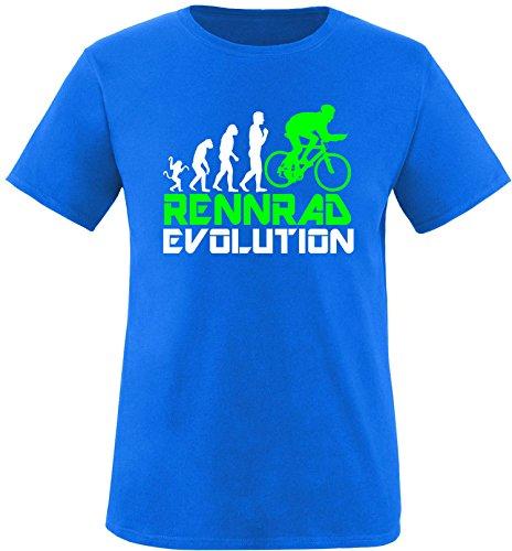 EZYshirt® Rennrad Evolution Herren Rundhals T-Shirt Royal/Weiss/Neongr