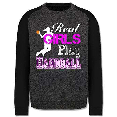Handball - Real Girls Play Handball weiß - Herren Baseball Pullover Dunkelgrau Meliert/Schwarz