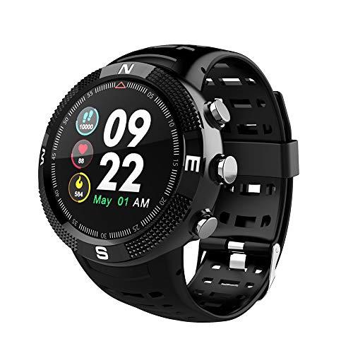 Fitness GPS Laufuhr,Miya Wasserdicht GPS Fitness Armband mit Pulsmesser Smartwatch Laufuhr Fitness Tracker Schrittzähler Uhr Smart Notifications mit 14 Trainingsmodi für Kinder Herren Damen-Schwarz -
