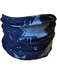 Multifunction Neckwarmer, Snood, Hat, Scarf and Hood in blue with lighter blue star print by Monogram
