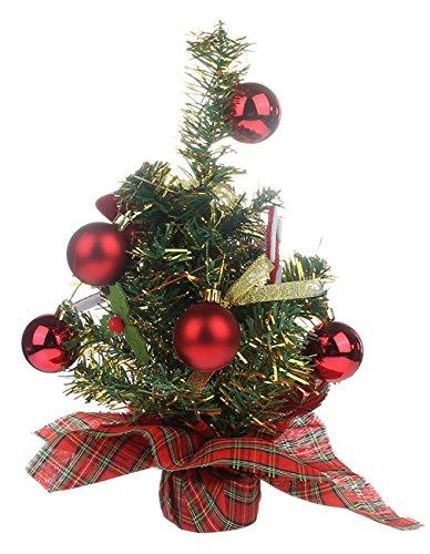EOZY Decoración de Mesa Árbol de Navidad para Navidad Fiesta 32×12CM Rojo