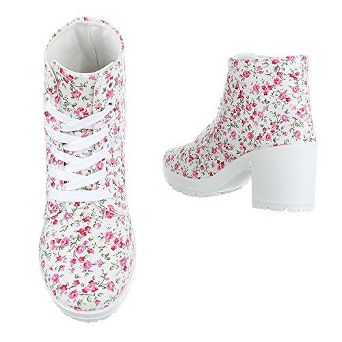 Schnürboots Damenschuhe Combat Boots Blockabsatz Schnürer Schnürsenkel Ital-Design Stiefeletten Weiß Multi
