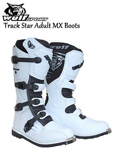 STAR TRACK WULFSPORT MX-2016-Stivali da moto Stivali Motocross Quad Corsa Sport, colore: bianco - Bianco - bianco - UK 11 / EU 46