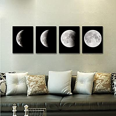IGEMY Modern Art Print on Canvas Home Wall Decor Poster Abstract The Moon 4PCS Framed - inexpensive UK light store.
