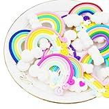 RayLineDo®, decorazioni a forma di nuvola con arcobaleno, 12 pezzi casuali, in argilla polimerica, colori vivaci, ornamenti per lavoretti fai da te, cabochon, album