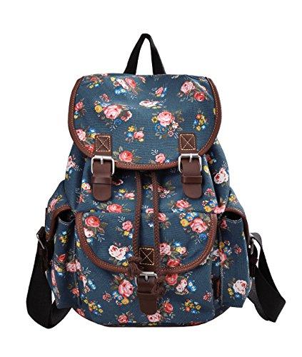 Douguyan Schulrucksack Daypack Girls E00163 Blau Pflingstrose Muster