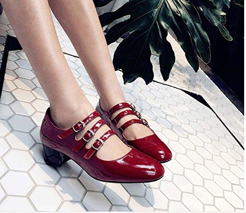 NobS Scarpe Fibbia Mary Janes Shallow delle donne scarpe di cuoio tacco grosso wine red