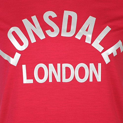 Lonsdale Femmes Logo T-Shirt Col Rond Tee Top Haut Casual Sport Manche Courte Rose