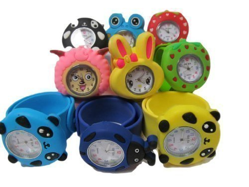 10x-kids-childrens-slap-on-snap-silicone-band-Mickey-Nemo-bees-frog-panda-bunny-wrist-watches-for-party-gift-bags-by-Fat-catz
