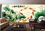 BHXINGMU Benutzerdefinierte Fototapete 3D Großes Wandbild Chinesisch Neun Fisch Bild Ktv Bar Wand 320Cm(H)×450Cm(W)
