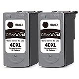 OfficeWorld Remanufacturé Canon PG-40 Cartouches(2 Noir) Compatible pour Canon PIXMA iP1200 iP1700 iP2200 iP2400 iP2500 iP2600 MP210 MP220 MX300 MX310, MultiPass 450 MP150 MP160