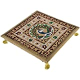 Purpledip Meenakari Chowki: Wooden Stand for Idols, 9.5 inches (10905A)