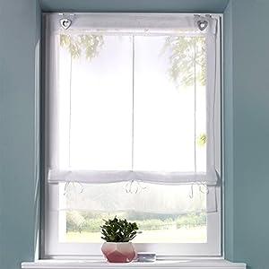 SIMPVALE 1 Stück Raffrollo für Küche und Balkon – Gardinen – Einfaches Aufhängen, Polyester, Weiß, Breite 80cm/Höhe 130cm