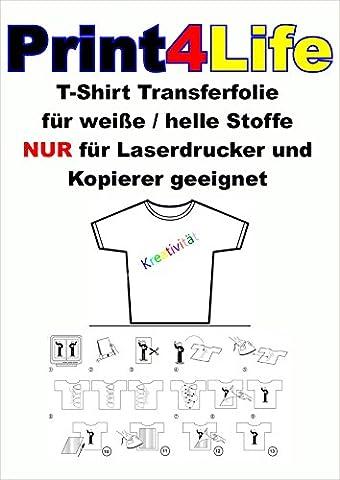 25 feuilles de format A4 T-shirt film de transfert clair / transparent papier transfert pour textiles légers pour imprimantes laser et photocopieurs.