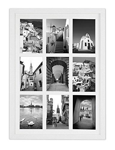 Golden State Art, 13,6x 19,7mattierte weiß Holz 9-opening für 4x 6Bilderrahmen Collage (Bilderrahmen Glas 4x6)