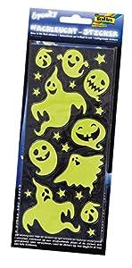 Folia 1462-Noche Bombilla Pegatina Spooky, Aproximadamente 10x 23cm, 2Hojas, diseños Variados