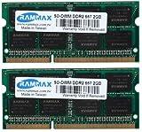 RAMMAX 4GB (2x2GB) SO-DIMM Notebook Arbeitsspeicher Dual Channel Kit DDR2 667MHz PC2-5300 CL5 200-Polig (Rechnung mit ausgewiesener MwSt)
