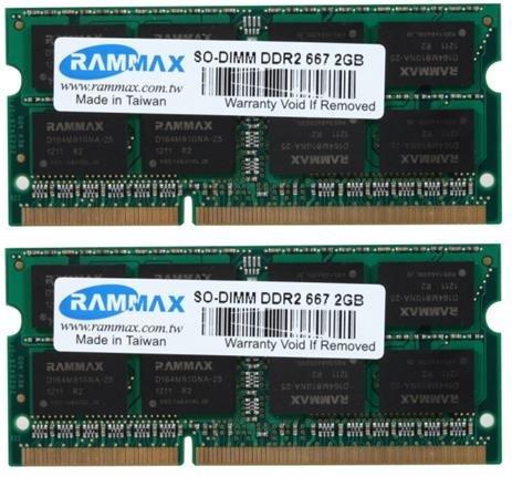 RAMMAX 4GB (2x2GB) SO-DIMM Notebook Arbeitsspeicher Dual Channel Kit DDR2 667MHz PC2-5300 CL5 200-Polig (Rechnung mit ausgewiesener MwSt) -