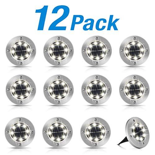 Solar Bodenleuchte Solarleuchte 8 Stück 8 LEDS Warmweiß Wasserdichte Bodenstrahler Licht Außenleuchte Garten Landschaft Beleuchtung für Rasen Weißes Licht [Energieklasse A+++] (12-Weißes Licht)