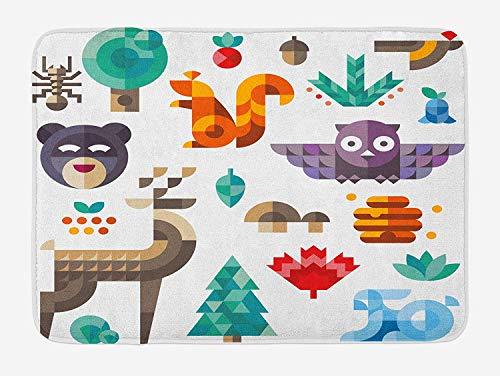 , Cute Cheerful Poly Art Style Animals Owl Bear Bunny Apple Dear Nursery Baby Design, Plush Bathroom Decor Mat with Non Slip Backing, 23.6 W X 15.7 W Inches, Multicolor ()