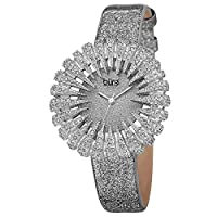 Burgi Crystal Accented Sparkling Dial Women's Watch - Crystal Filled Bezel On Glossy Leather Strap Watch - BUR112 Pewter Grey