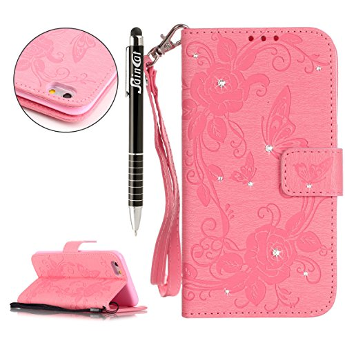 iPhone SE Hülle, iPhone 5S Hülle,iPhone 5 Hülle,SainCat Apple iPhone SE / 5S / 5 Reliefprägung(Schmetterlings-Rose,Blitz-Diamant)Ledertasche Brieftasche im BookStyle PU Leder Hülle Wallet Case Folio S Schmetterlings Rose-Rosa