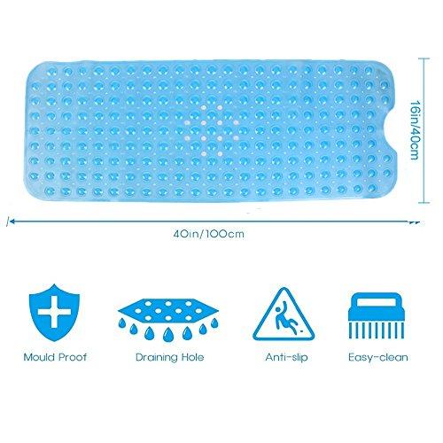 PRXD Extra lange Badewanne Matten Anti-Rutsch-Wanne Matte Anti-Bakterien-Dusche Matten, Superior Griff und Drainage (40 Wx 100 L CM) (Blau) (Lange Baby-badewanne Matte)