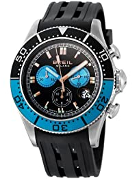 Breil Men's Manta 1970 Swiss-made Chronograph Watch BW0405 with 44mm Stainless Steel Case, Blue/Black Dial, and Black Rubber Strap