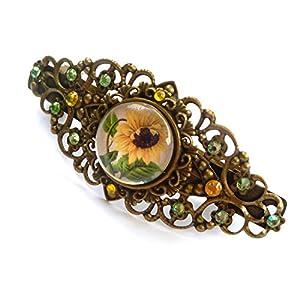 Haarspange mit Sonnenblume, antik Haarschmuck, Blumen Haarspange