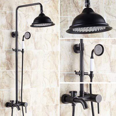 Luxury Brass Shower Set, 8 inch Overhead Shower, Black Color Rainfall Shower Set, Free Shipping L16089,Black