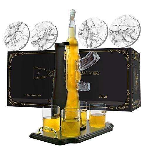 Krown Kitchen - Maschinenpistolen Whisky Karaffe Set. Enthält Whiskey Gläser, Untersetzer und Holzplatte. Perfektes Vater-Geschenk. Für Bourbon, Scotch, Schnaps usw. 750 ml. 4-teiliges.