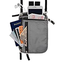 RFID Blocking 2-in-1 Travel Neck Stash and Belt Wallet Security Hidden Passport Holder Pouch