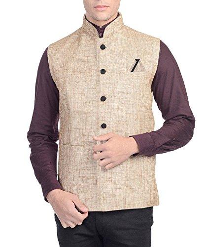 GlamioMen's Beige Nehru Jacket