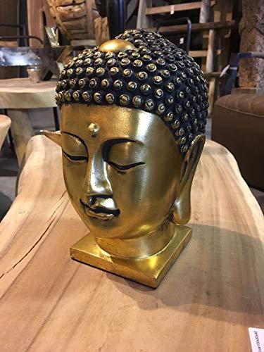 DT Thai Buddha Kopf 24 cm goldfarben Antik Designe Skulptur Deko Feng Shui New