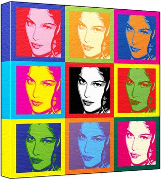 Laetitia Casta - Pop Art Print (3-Tone; Andy Warhol's Che Guevara Style) 50 x 50 x 2 cm Large Square Deep Box Canvas