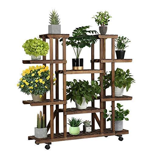 Yaheetech Blumenregal Holz 6 Ebenen Blumenständer Blumenbank mit Rädern für Balkon Wohzimmer Outdoor Garten