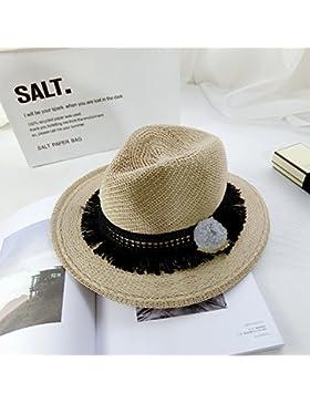 Sombrero de Paja femenino Verano bola bruto lado encaje Su tejido transpirable amplia los sombreros de ala ancha...