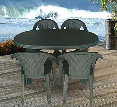 5tlg. Gartengarnitur Balkonmöbelset Gartenmöbel Sitzgruppe Vollkunststoff Gartentisch 136x86cm Stapelstuhl Dunkelgrün