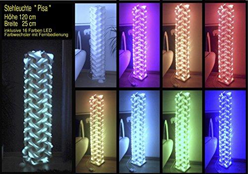 Stehleuchte Pisa Höhe 120 cm Breite 25 cm , inkl. 16 Farben LED Farbwechsler mit Infrarot Fernbedienung