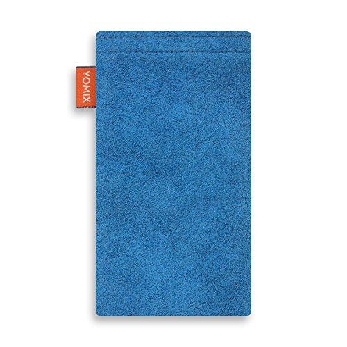 YOMIX Handytasche | Tasche | Hülle MALIN für Apple iPhone 8 Plus aus Jeansstoff mit genialer Display-Reinigungsfunktion durch Microfaserinnenfutter HUGO blau