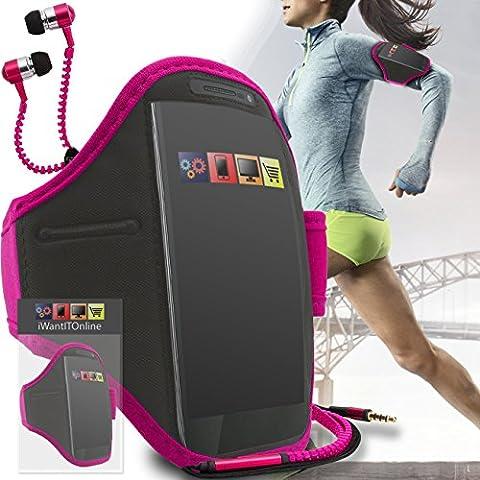 Rose Noir GYM réglable de jogging Running ArmBand Housse de cas avec écouteurs de style Zip de 3,5 mm Pour Nokia E63