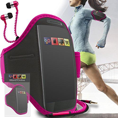 Rose Noir GYM réglable de jogging Running ArmBand Housse de cas avec écouteurs de style Zip de 3,5 mm Pour Apple iPhone 7 2016 Rose