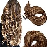 Extension per capelli Remy, 50 g, 35,6 - 56 cm, senza cuciture, colla, capelli dritti nel nastro per extensions.