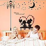 LEELIYA Liebhaber Wandaufkleber Vinyl DIY Alte Straßenlaterne Mond Wandbild Kunst Für Hochzeitszimmer Glastür Dekoration