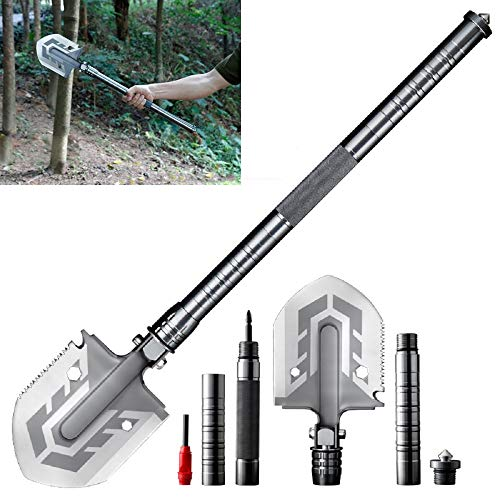 DAYA The Ultimate Survival Tool 23-in-1 Multi-Purpose Folding Shovel,Shovel Survival Spade Entrenching Tool with Carrying Pouch Metal Handle for Camping,Trekking,Fishing,Hunting,Car Emergency