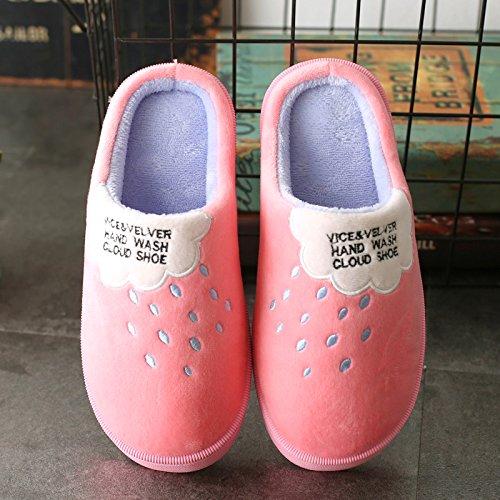DogHaccd pantofole,Piscina home inverno cotone pantofole soggiorno femmina di spessore, antiscivolo coppie caldo inverno scarpe pantofole di peluche maschio Il rosso2