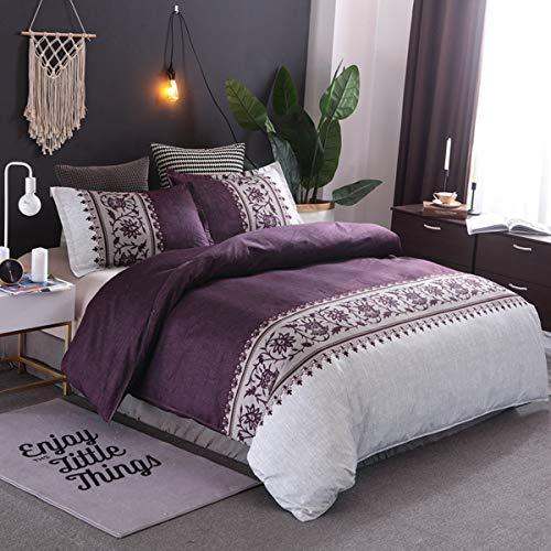 WONGS BEDDING Bettwäsche-Set für King-Size-Betten, Bettbezug mit modernem Convallaria-Motiv, mit 2 Kissenbezügen, Violett,220 * 240cm