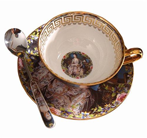 Porzellan Keramik Ölgemälde Abbildung Tee-Tasse Kaffeetasse, Braun Und Blau