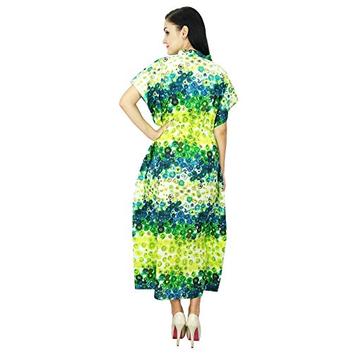 Bimba les femmes à long caftan de coton de caftan chemise de nuit robe bohème rayonne maxi Vert